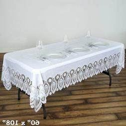 """White Crochet Lace Plastic 60x108"""" Rectangle TABLECLOTHS Wed"""
