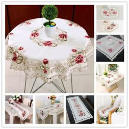 White Embroidered Floral Lace Tablecloth Small Table Cloth W