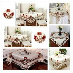 White Embroidered Lace Tablecloth Wedding Party Dining Table