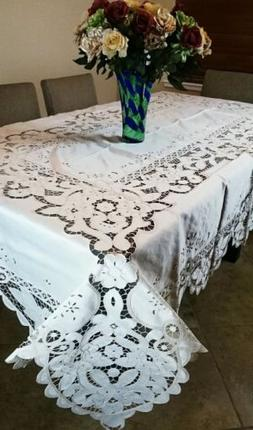 "White Embroidery 72x180"" Tablecloth Napkin Cotton Polyester"