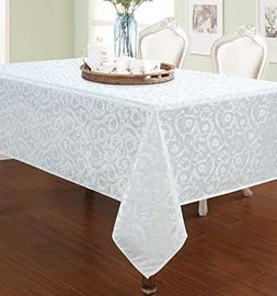Elegant Home White Floral Jacquard Rectangle Tablecloth Heav
