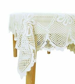 White Lace Polyester Tablecloth - Rectangular Table cloth 60