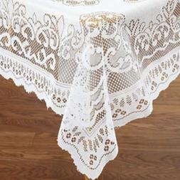 "White Lace Reusable Tablecloth Rectangle Size 60"" X 104"""