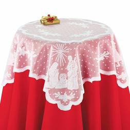 White Lace Square Tablecloth or Valance Nativity Shepherd Wi