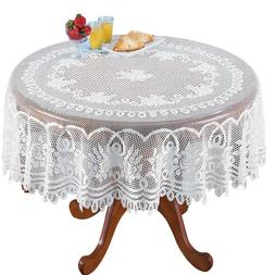 White Lace Tablecloth Round Vintage Table Cloth Cover Party