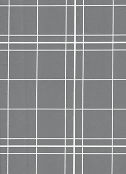 White Lines Flannelback Vinyl Tablecloth in Gray, 60x104 Obl