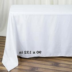 """WHITE Polyester 90x132"""" Rectangle TABLECLOTHS Wedding Party"""
