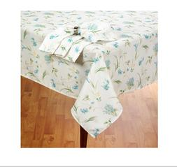 White Oval Tablecloth with Blue Orchid Print Fabric 60 x 84