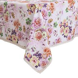 WEWOCH White Red Floral Print Rectangle Tablecloth Water Res