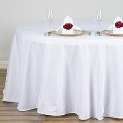 BalsaCircle 132-Inch White Round Polyester Tablecloth Table