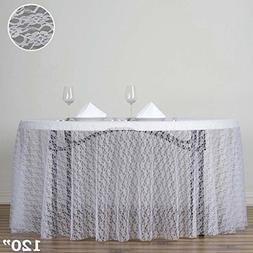 BalsaCircle 120-Inch White Round Polyester Tablecloth with F