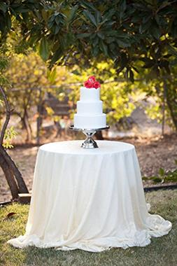 """96"""" White Round Sequins Wedding Tablecloth, Sparkly Table cl"""