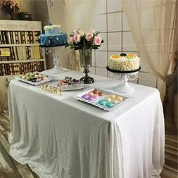 """TRLYC 60"""" 105"""" White Sequin Table Cloth For Wedding"""
