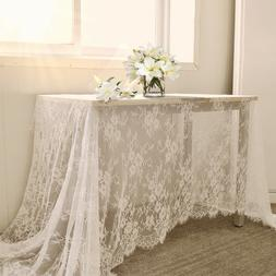 White Table Runner Vintage Wedding Tablecloth Overlay Rustic