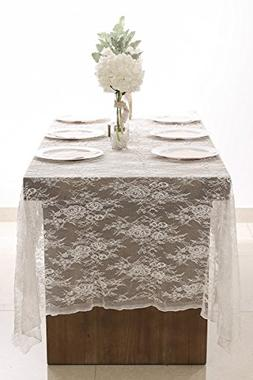 Ling's moment White Lace Tablecloth 60x120 Inches Wedding Ta