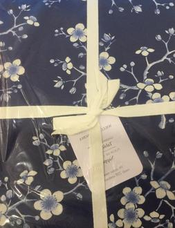 "Williams Sonoma Cherry Blossom 90"" ROUND Tablecloth NEW Navy"