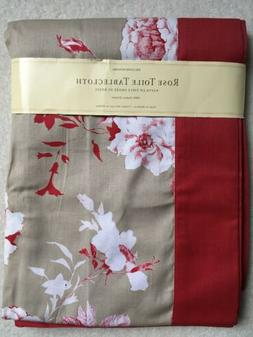 WILLIAMS SONOMA ROSE TOILE TABLECLOTH 70x70 NWT