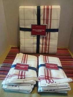 WILLIAMS SONOMA TATTERSALL  RED PLAID TABLECLOTH 70 X 90 + 8