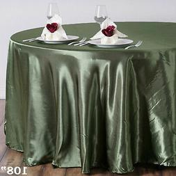 "WILLOW Green 108"" ROUND Satin TABLECLOTH Wedding Kitchen Tab"