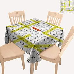 WinfreyDecor Word Search Puzzle Jacquard Tablecloth Unified
