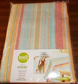 Food Network Woven CLOTH Tablecloth - Blue/Yellow/Coral Stri