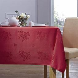 woven damask rose red circular round tablecloth