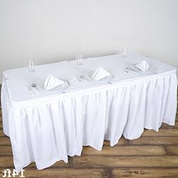 BalsaCircle 14 feet x 29-Inch White Polyester Banquet Table