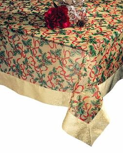 SARO LIFESTYLE XJ378 Xmas Oblong Tablecloth, 65-Inch by 140-