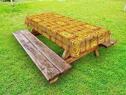 Yellow Outdoor Picnic Tablecloth Rounded Vibrant Squares Pri