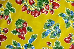 YELLOW STRAWBERRY FOREVER RETRO KITCHEN DINING OILCLOTH VINY